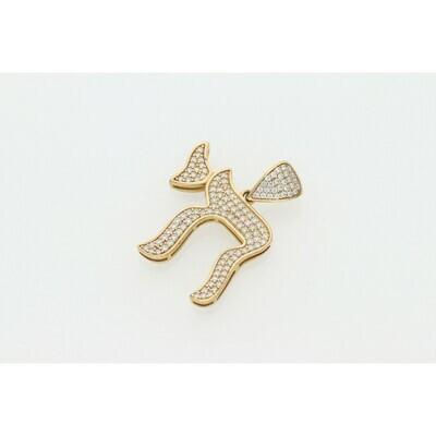 10 Karat Gold & Zirconium Chai Style Charm