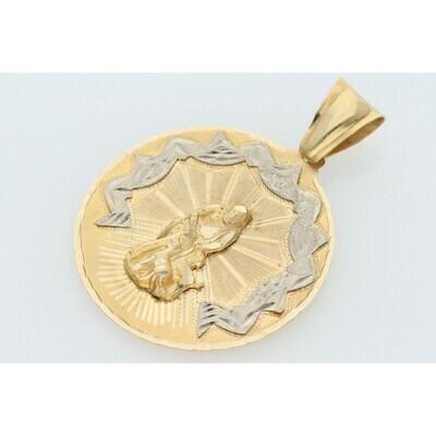 14 Karat Gold San Lazarus Medal Charm