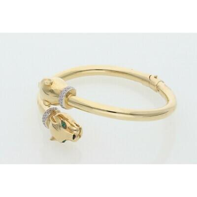 14 Karat Gold & Zirconium Two Panther Bangle
