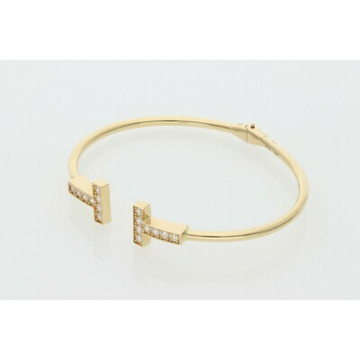14 Karat Gold & Zirconium TT Bangle