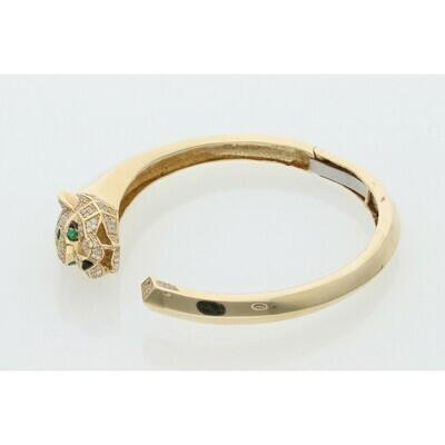 14 Karat Gold & Zirconium Panther Bangle