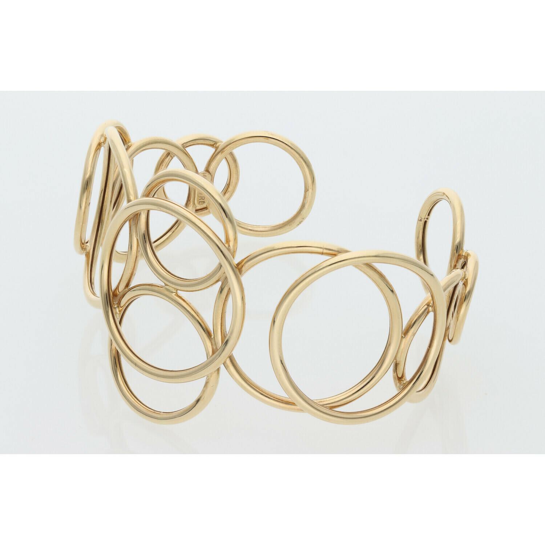 14 Karat Gold Circles Style Bangle