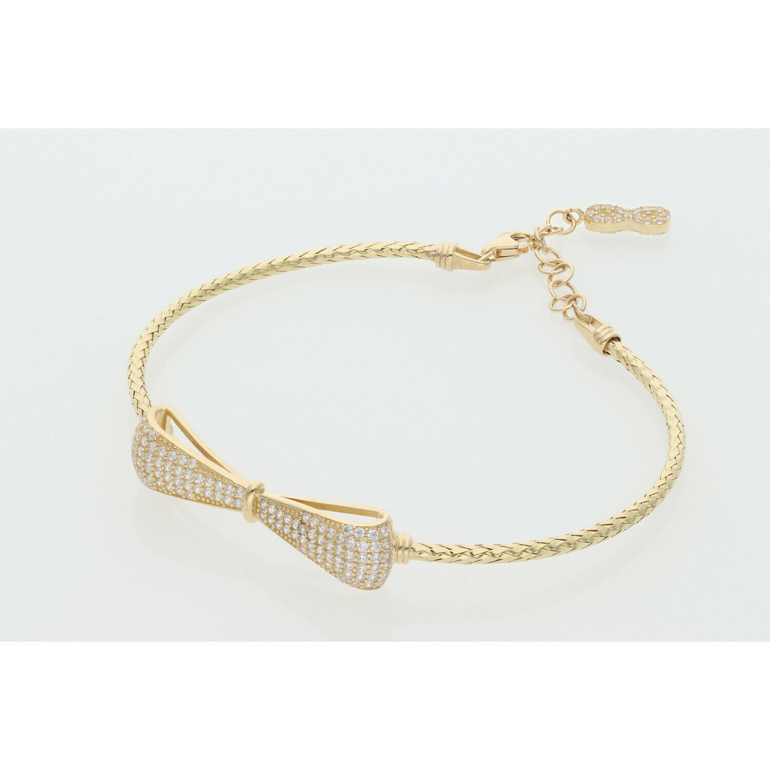 14 Karat Gold & Zirconium Ribbon Bangle