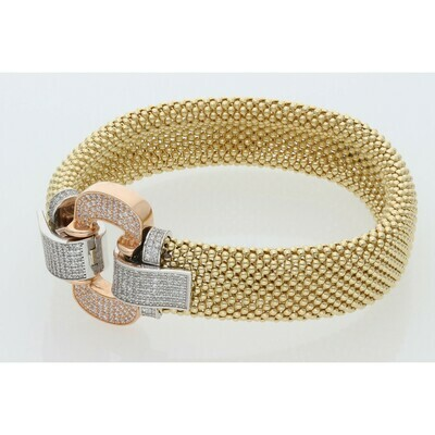 14 Karat Gold & Zirconium Three Tone Fancy Popcorn Bangle