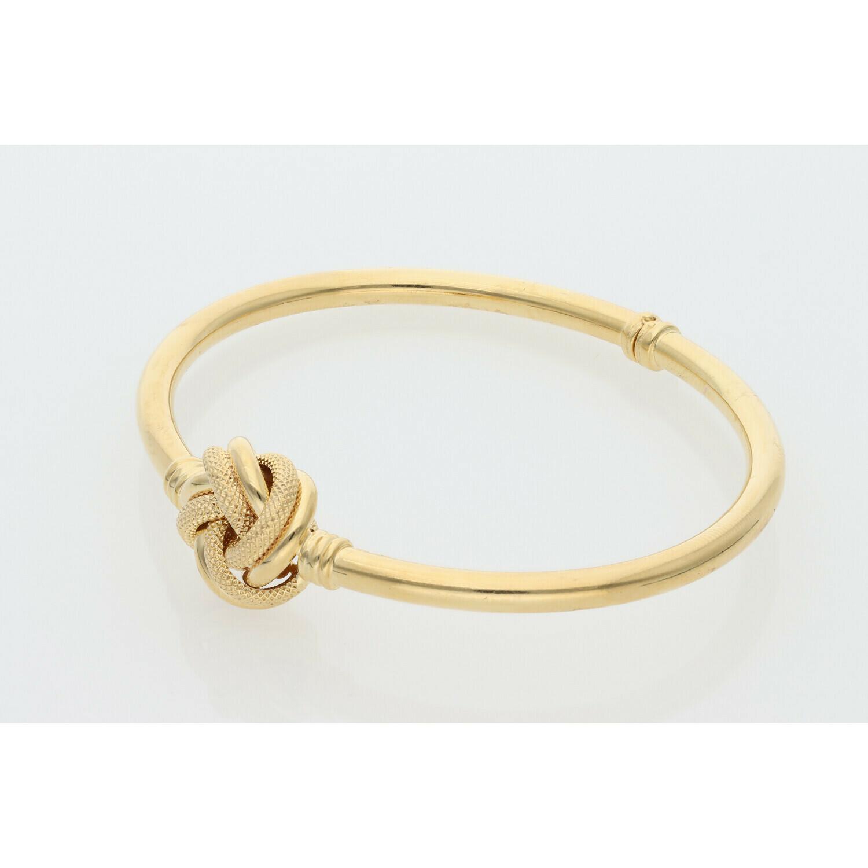10 Karat Gold Textured Knot Bangle