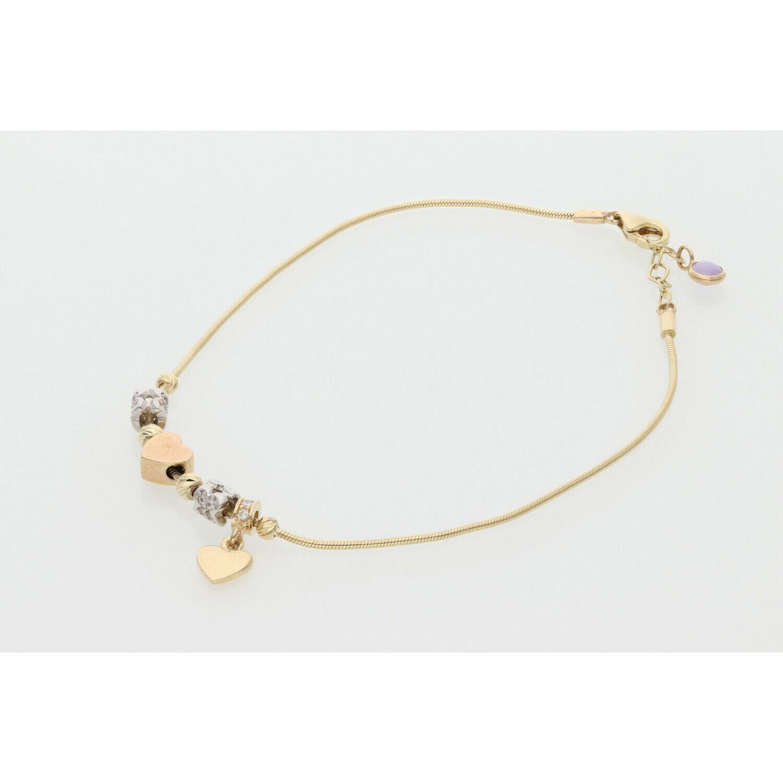 10 Karat Gold & Cz Three Tone Heart Charms Snake Bracelet 0.8mm x 7.5