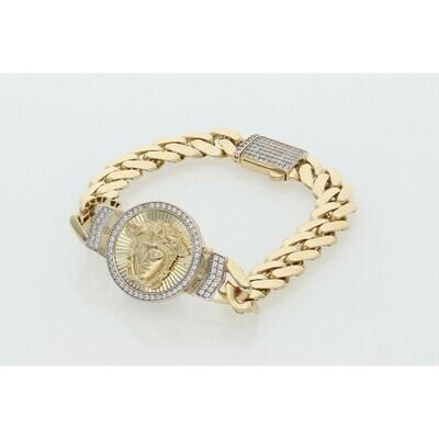 10 Karat Gold & Zirconium Medusa Cuban Link Monaco Bracelet
