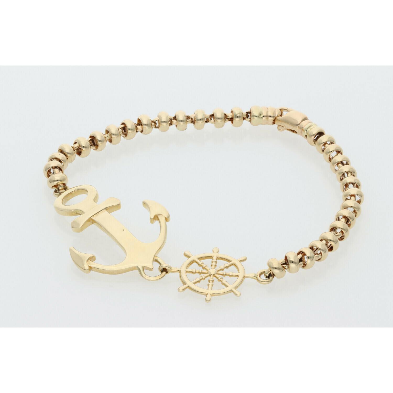 14 Karat Gold Anchor Bracelet