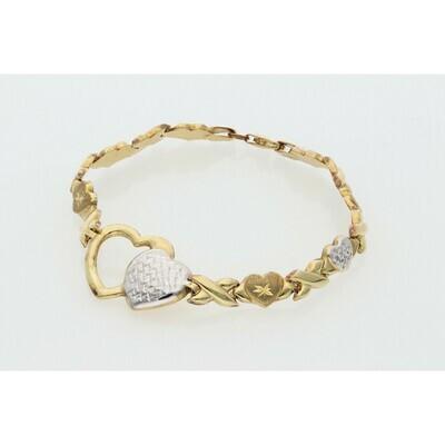 10 karat Gold Two Tone xoxo Bracelet 6.6 mm x 7
