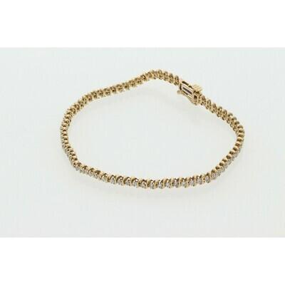 10 karat Gold 1.00 CTW Diamond Tennis Bracelet 3.4mm x 7