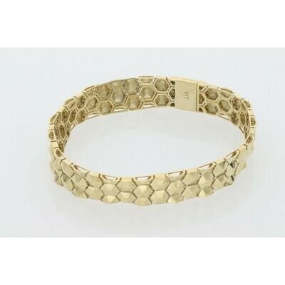 10 Karat Gold Hexagon Bracelet 10.2mm x 7