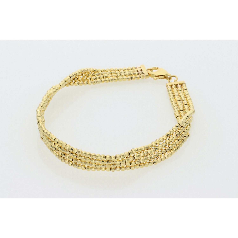 10 Karat Gold Diamond Cut Moon 4 Line Bracelet