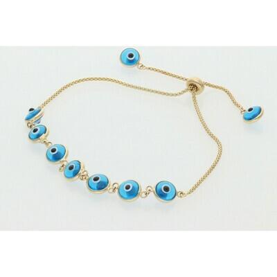 14 Karat Gold Adjustable Evil Eye Light Blue Bracelet