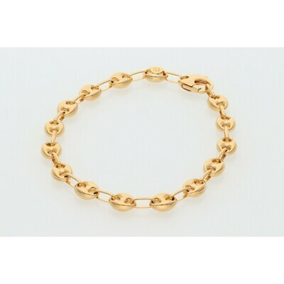 10 Karat Rose Gold Puff Mariner Bracelet 6.5mm x 8