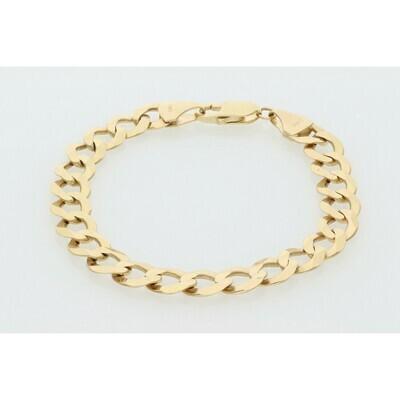10 karat Gold Italian Curb Bracelet 8.8 mm x 8 inch W: 16.6g ~