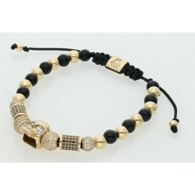 14 Karat Gold & Zirconium Skull Adjustable Fancy Bracelet