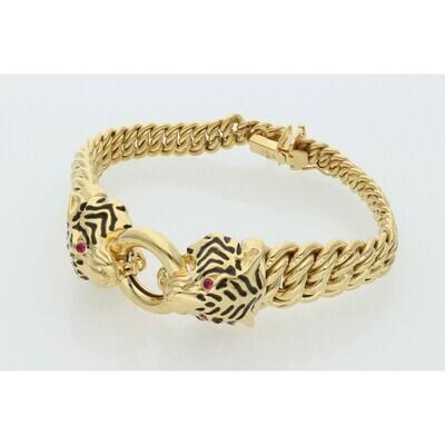 10 Karat Gold & Zirconium Two Tiger Princess Style Bracelet