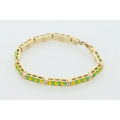 14 Karat Solid Gold Fancy Orula Bracelet 4.7mm x 7.5