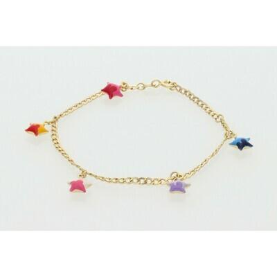 10 Karat Gold Children Stars Cuban Link Bracelet