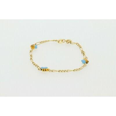 10 Karat Gold Emoji Children Figaro Bracelet