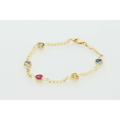 10 Karat Gold & Zirconium Hearts  Italian Curb Bracelet