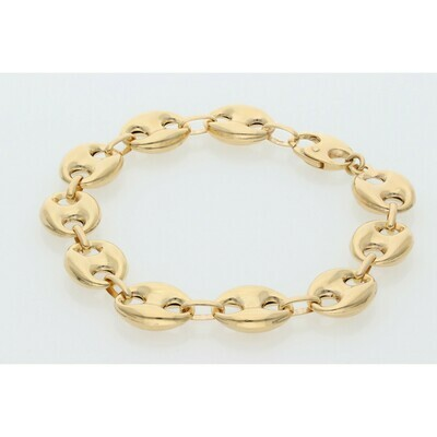10 Karat Gold Puff Mariner Bracelet