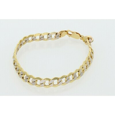 10 karat Gold Italian Curb Pavé Bracelet 7.8 mm x 8