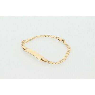 10 Karat Solid Gold Pavé Italian Curb ID Bracelet