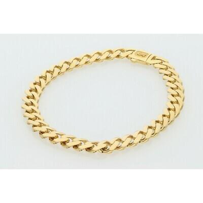 10 Karat Gold Cuban Link Monaco Bracelet 6 Millimeters
