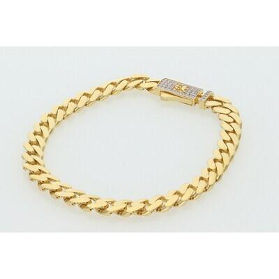 10 Karat Gold & Zirconium Box Lock Cuban Link Monaco Bracelet