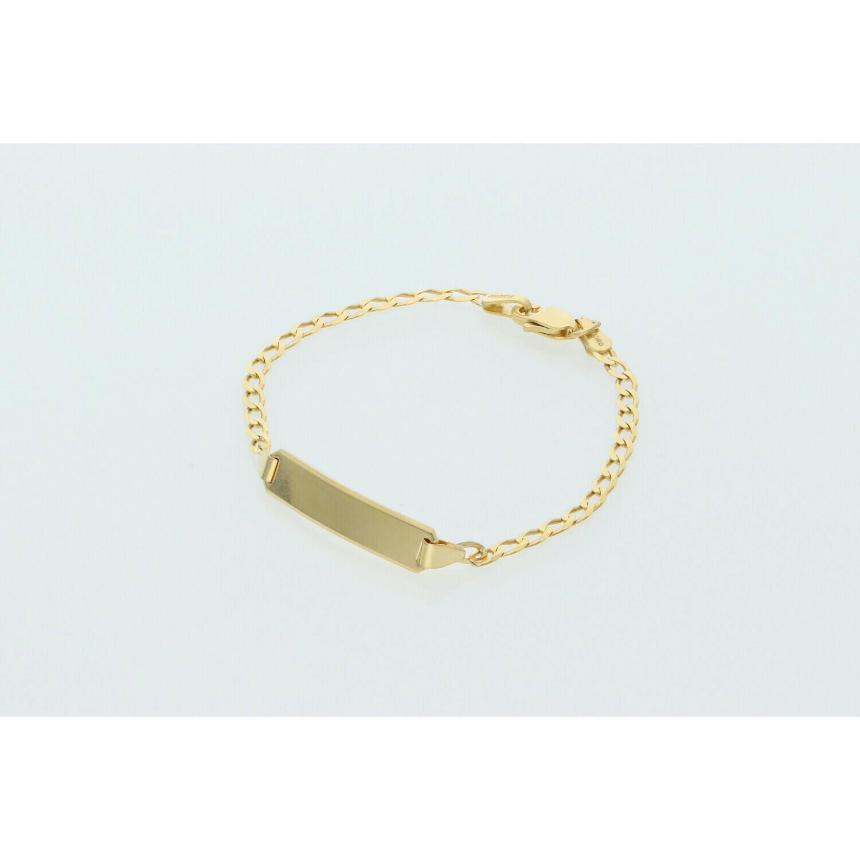 10 Karat Solid Gold Italian Curb Link ID Bracelet