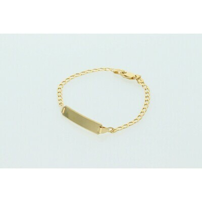 10 Karat Solid Gold Italian Curb Link ID Bracelet 2.4mm x 6