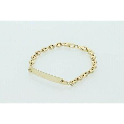 14 Karat Gold Puff Mariner ID Bracelet4.4mm x 6