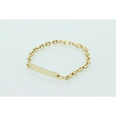 10 Karat Gold Puff Mariner ID Bracelet