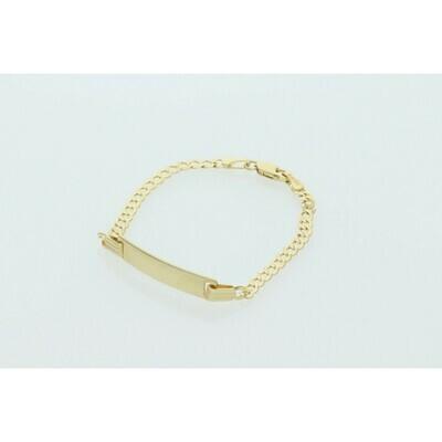 14 Karat Gold Italian Curb ID Bracelet 3mm x 5