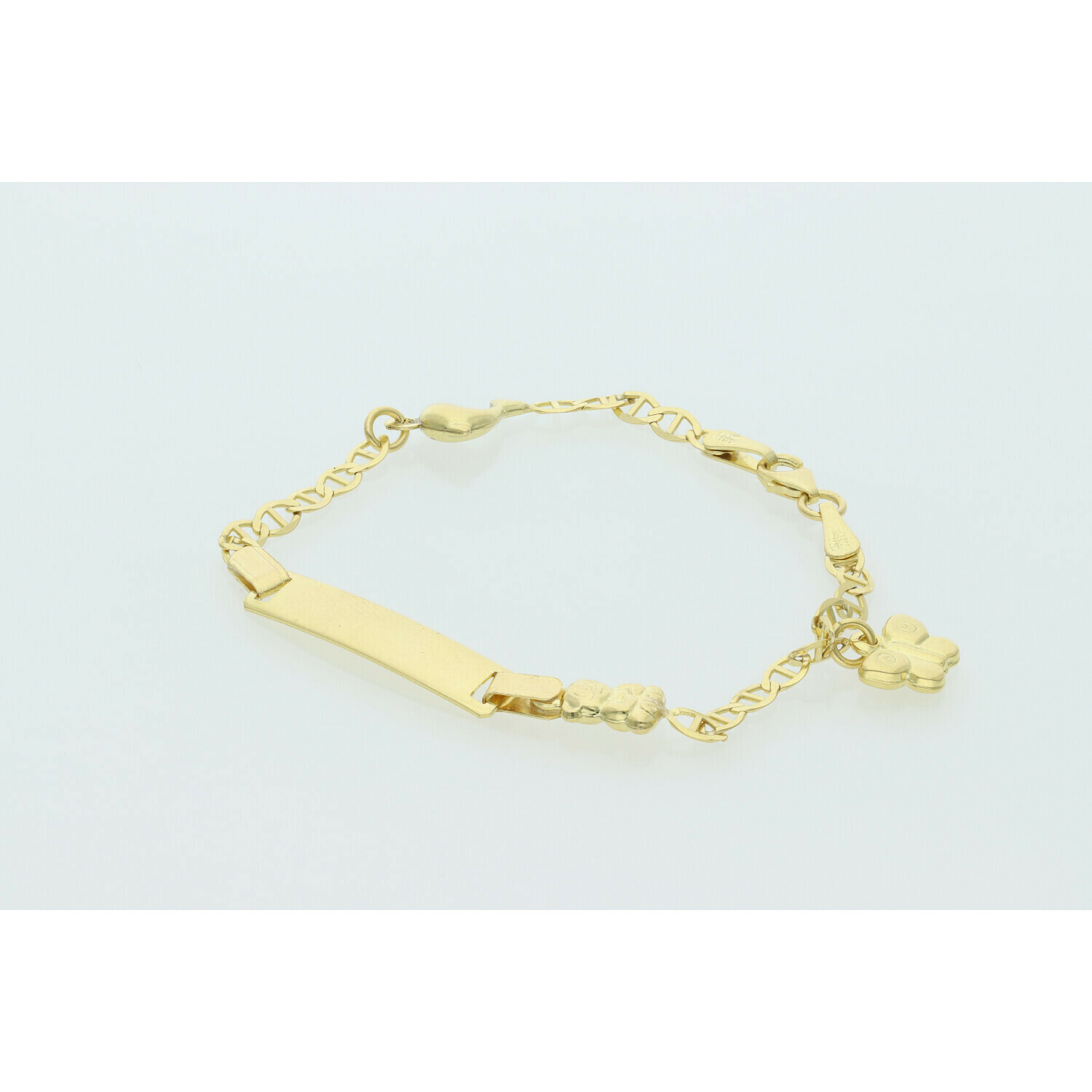 10 Karat Gold Fancy G ID & Mini Charms Bracelet