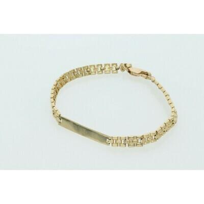 10 Karat Gold Fancy R Style ID Bracelet