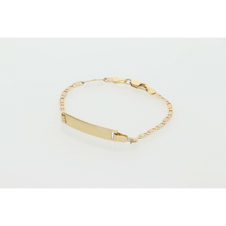 14 Karat Gold Three Tone ID Baby Bracelet