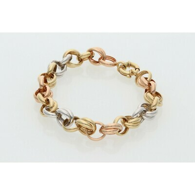 14 karat Gold Three Tone Rollo Bracelet
