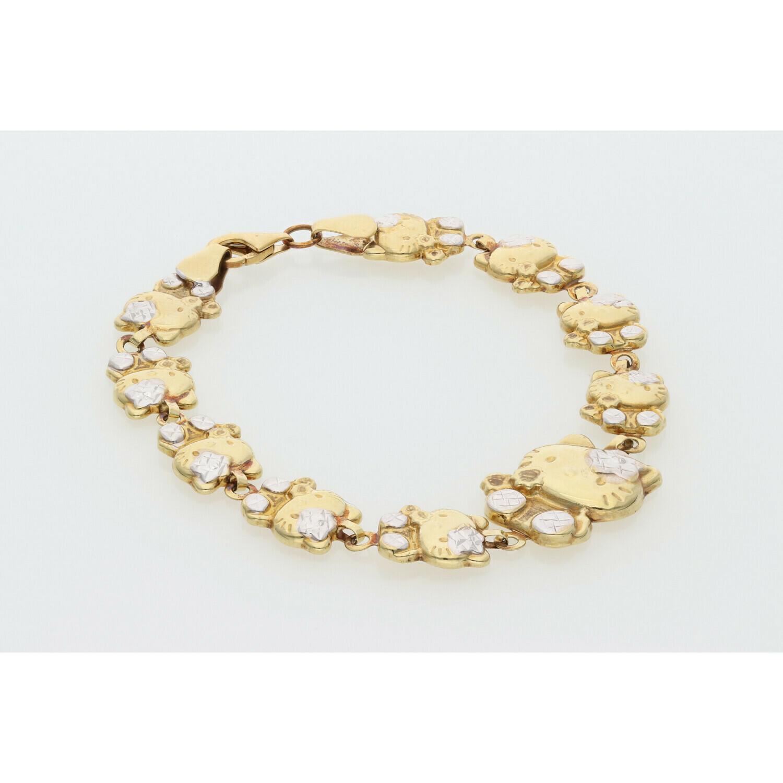 10 Karat Gold Two Tone Hello Kitty Bracelet