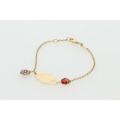 14 Karat Gold Fancy Ladybug Flower ID Rollo Bracelet