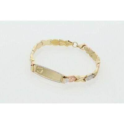 14 Karat Gold Three Tone XOXO ID Girl Bracelet