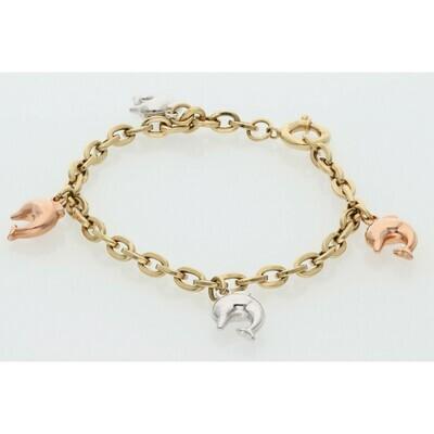 14 Karat Gold Dolphins 3 Tone Charms Rollo Bracelet