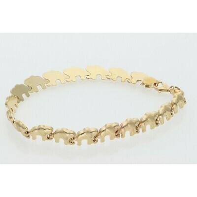 10 Karat Gold Elephant Estampato Bracelet