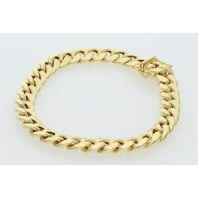 10 Karat Gold Miami Cuban Link Bracelet 9 Millimeters