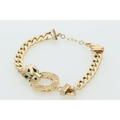 14 Karat Gold & Zirconium Fancy Hoop Panther Miami Cuban Link Bracelet