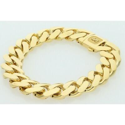 10 Karat Gold Cuban Link Monaco Bracelet 15 Millimeters