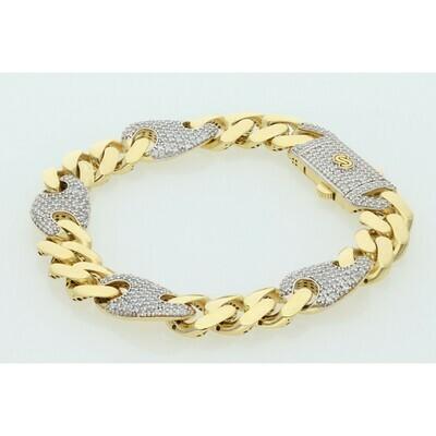 10 Karat Gold & Zirconium Monaco Cuban Puff Link Bracelet