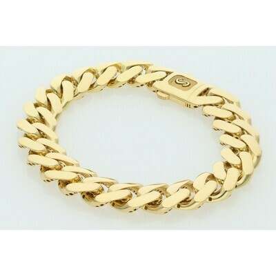 10 Karat Gold Cuban Link Monaco Bracelet 13 Millimeters