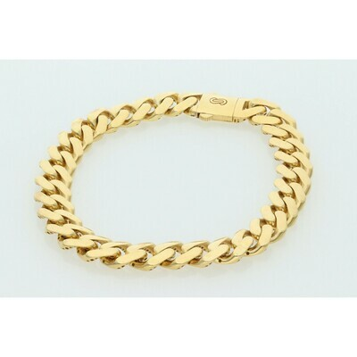 10 Karat Gold Cuban Link Monaco Bracelet 9 Millimeters